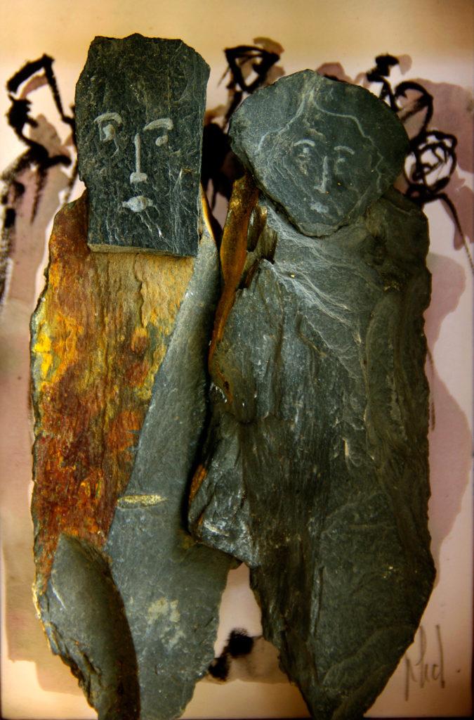 Le roi et la reine sculpture en ardoise Philippe Doberset