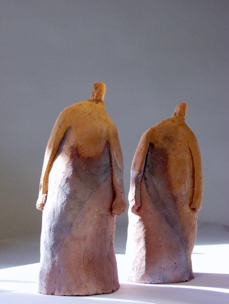 Les deux sœurs sculpture terre de Garonne Philippe Doberset