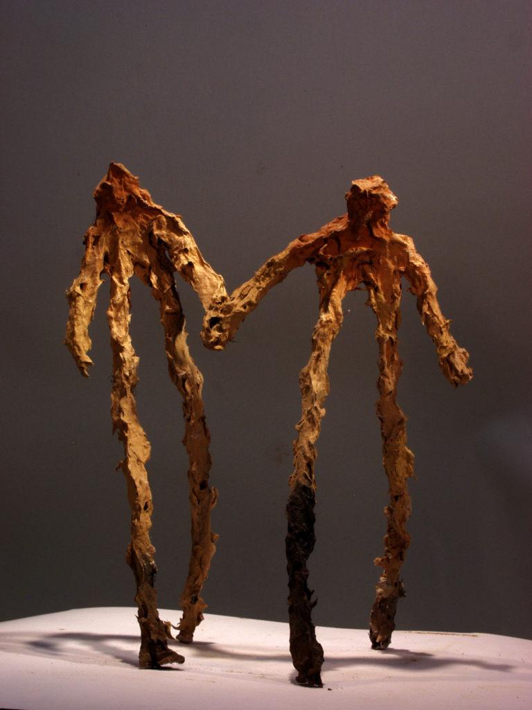 Couple de terre sculpture de Philippe Doberset
