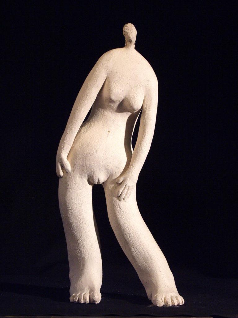 Pachy blanc sculpture en terre cuite Philippe Doberset