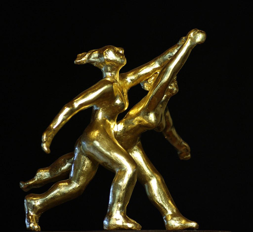 Les baigneuses sculpture en terre cuite dorée à la feuille d'or Philippe Doberset