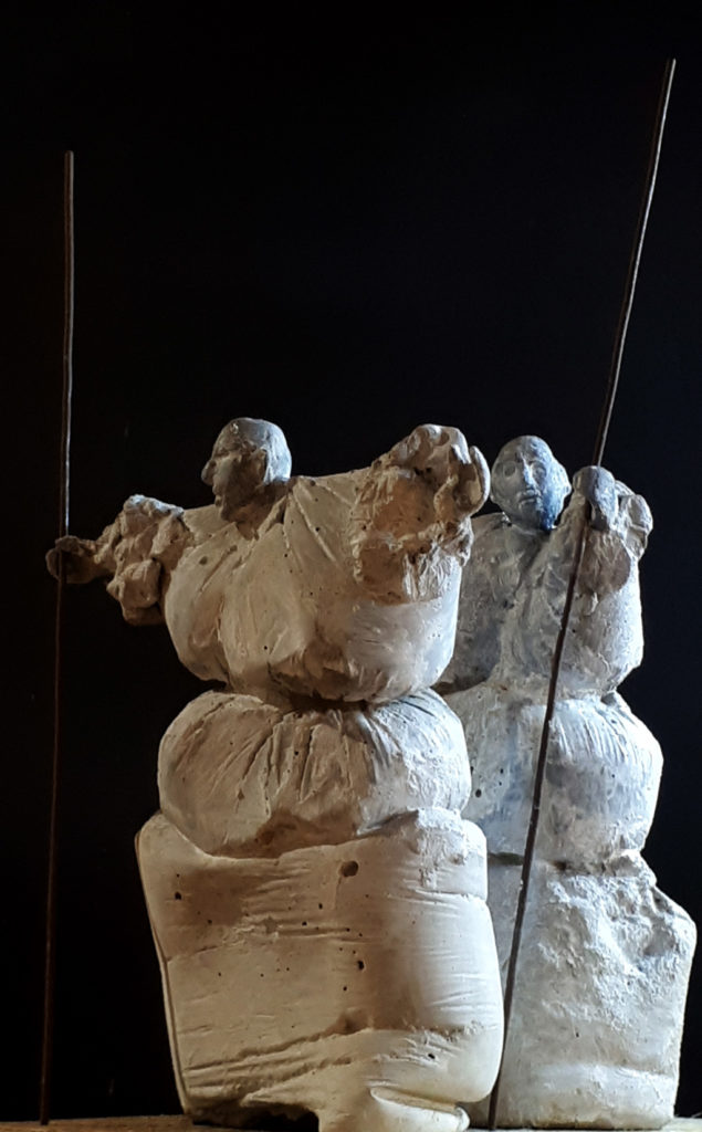 Deux aveugles sculpture de Philippe Doberset